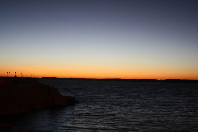 False Dawn Over Lake Nasser Just before Sunrise at Abu Simbel