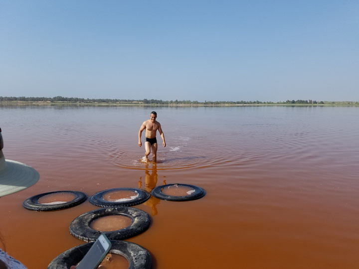 Mauricio Andrade after a swim in Pink Lake